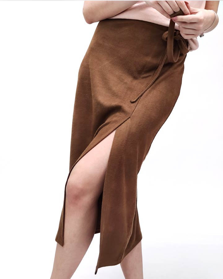 Midi braon suknja